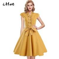 Dress 2016 Women Loose Dress Fit And Flare Retro Audrey Hepburn Short Cap Sleeve Roupas Elegantes