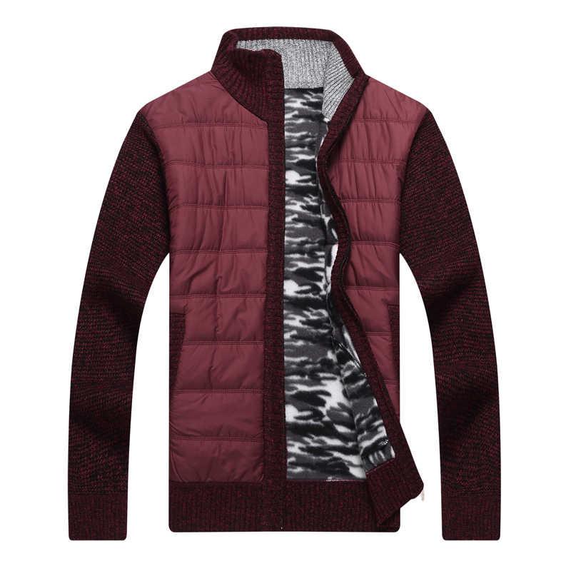 227597cd0ba07 ... Covrlge зима Для мужчин теплый флисовый джемпер свитер пальто модный  пэчворк мужской куртки с утеплителем куртка