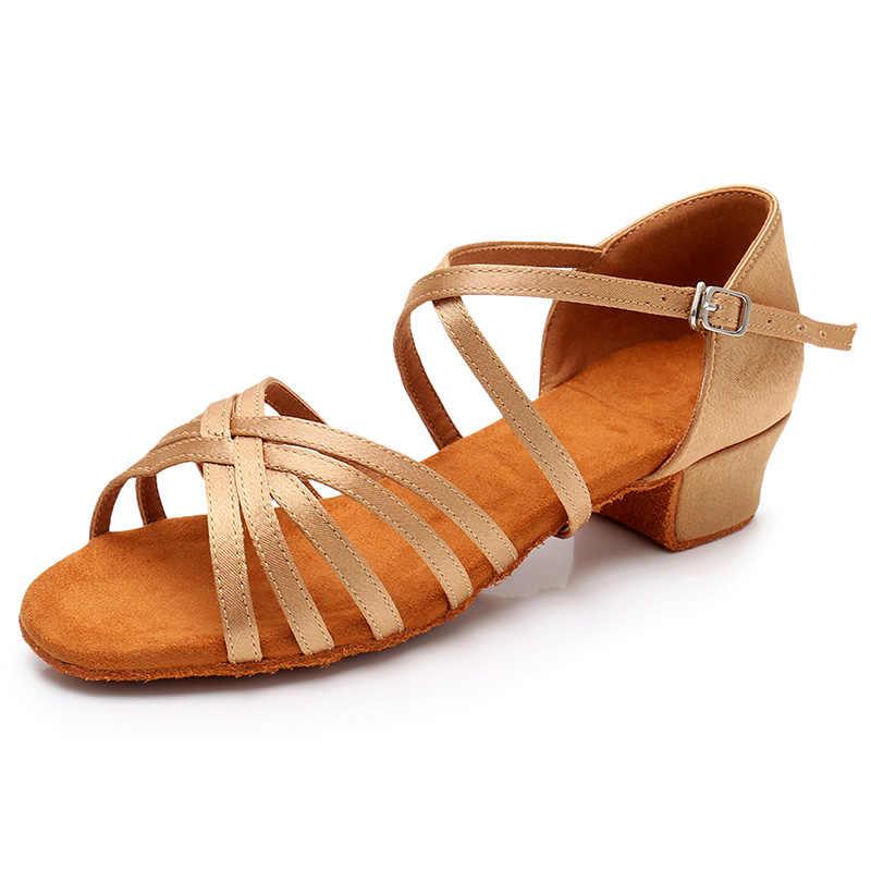 EU24-42 Nữ Nhảy Latin Giày Trẻ Em Trẻ Em Giày Gót Thấp Bóng Tango Nhảy Múa Cho Bé Gái Trẻ Em Nữ Miễn Phí Vận Chuyển Trong Kho