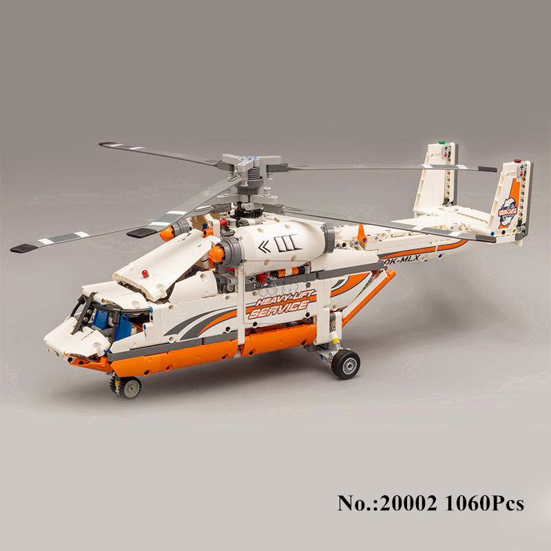 H&HXY 20002 1060Pcs Technology Series Mechanical Group High Load Helicopter Blocks Compatible With Boy Assembling lepin Toys new lepin 20002 technology series mechanical group high load helicopter blocks compatible with 42052 boy assembling toys