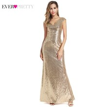Rose Gold Sequined Evening Dresses Ever Pretty EP00911RG V-Neck Sleeveless Mermaid Women Long Elegant Formal Party Gowns
