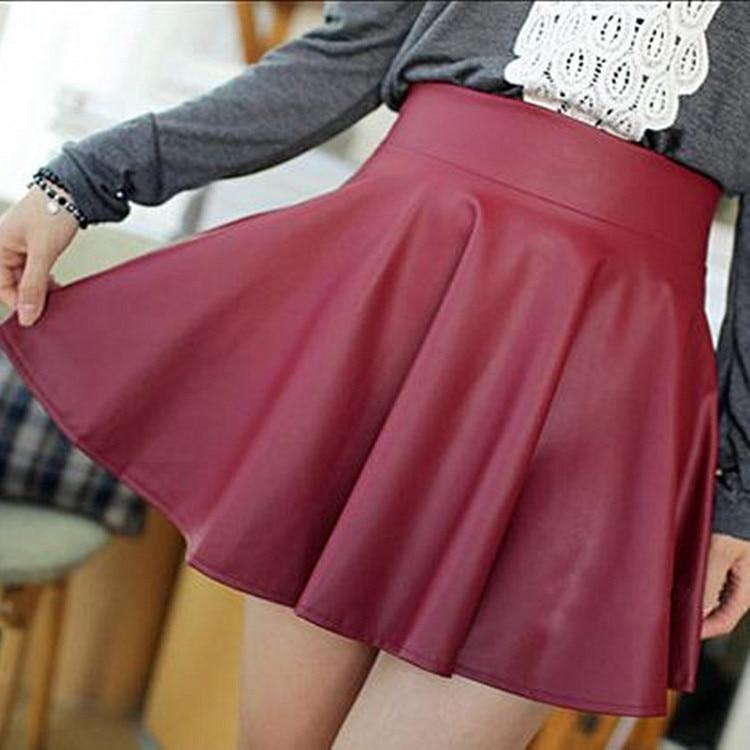 New Sexy Mini Skirt Winter Pu Leather Skirt Plus Velvet Skirts High Waist Pleated Cake Skirt Leisure Skirts Womens D1825