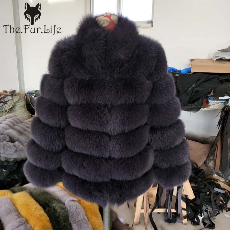 Furealux Real Fox Fur Coat With Stand Collar Thick Warm Fox Fur Jackets Long Sleeve Natural Fur For Female