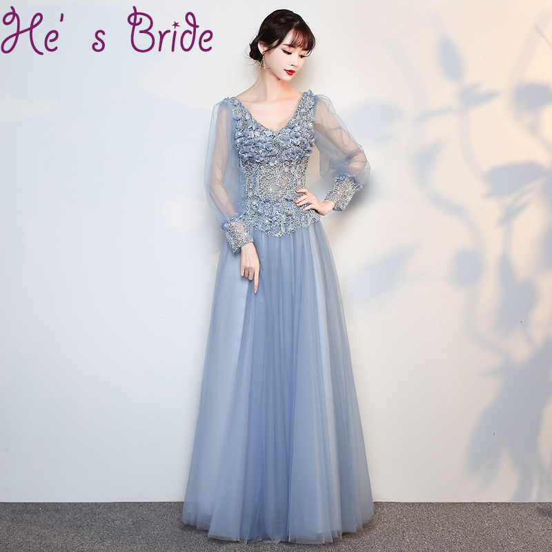 Evening Dress Elegant Light Blue V Neck Long Sleeves Lace Up Back A Line Floor Legnth Tulle Lace Flowers Party Prom Dress