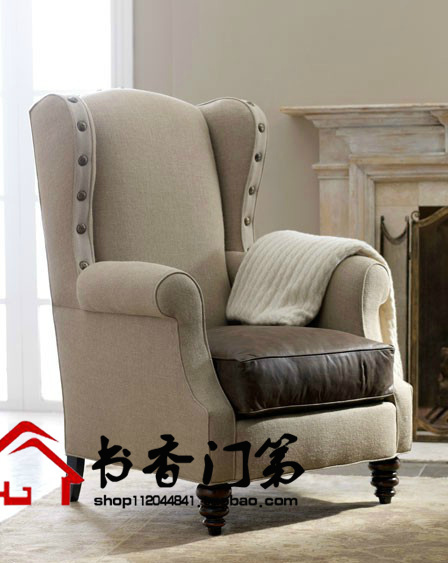 High Backed Chair Steel Feet American Village Single European Tiger Sofa Back Neoclassical Chairs
