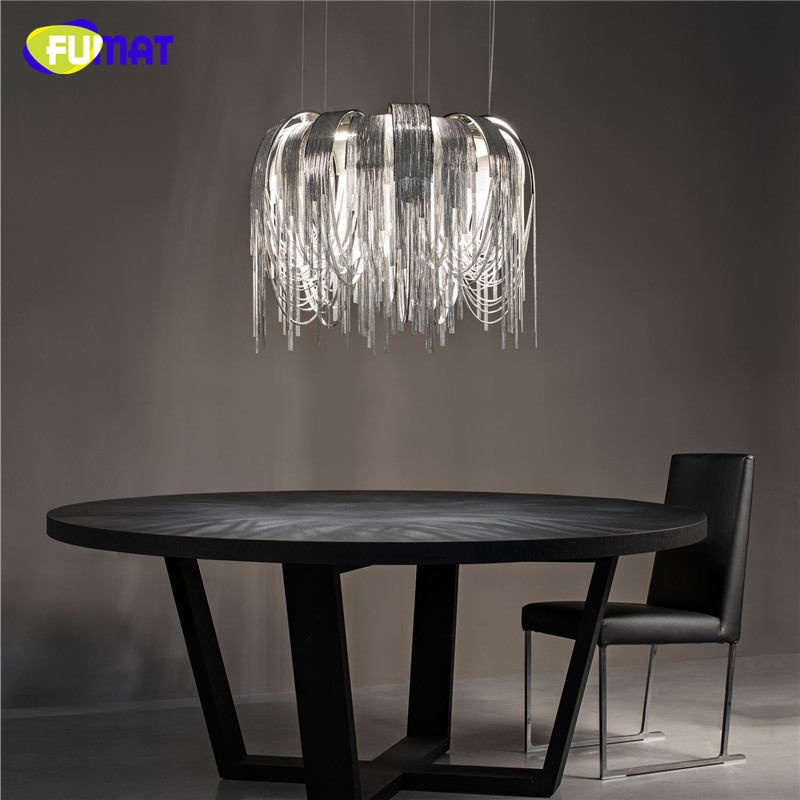 FUMAT Pendant Lights for High Ceilings Suspension Lamp Hanging Lamp Circle Modern Dinning Room Aluminum Chain Pendant Light Gold french aluminum chain pendant light fixture empire vintage hanging suspension lustre chain pendant lamp drop light for hotel