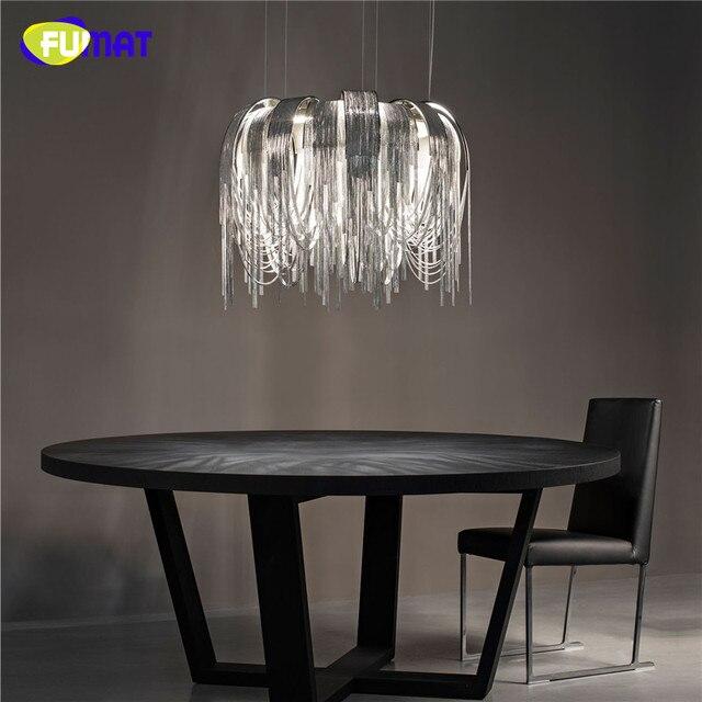 FUMAT Pendelleuchten Für Hohe Decken Suspension Lampe Hängelampe Kreis  Moderne Esszimmer Aluminium Kette Anhänger Licht Gold