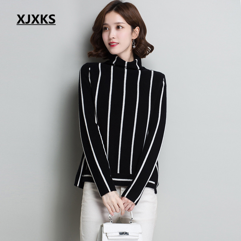 XJXKS Loose plus size women's turtleneck sweater autumn winter 2019 new 100% wool comfortable knitted pullover women