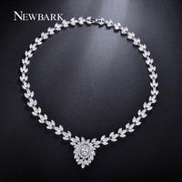 NEWBARK Romantic Leaf Crystal Wedding Necklaces Silver Color Rhinestone With AAA Cubic Zirconia Stunning Wedding Femme Jewelry