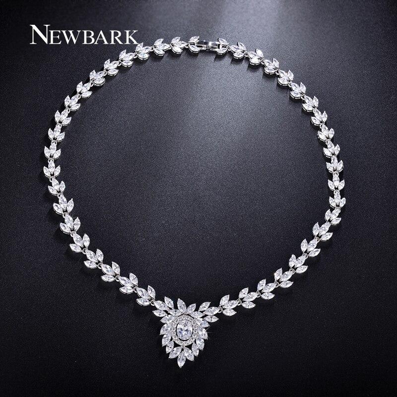 NEWBARK Romantique Feuille Cristal De Mariage Colliers Argent Couleur Strass Avec AAA Zircone Cubique De Mariage Magnifique Femme Bijoux