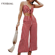 FTGSDLONG 2019 New Fashion 2 Piece Pants Sets Women and Crop Top Set Sexy Short Striped Sling Blouses + Wide Leg Trousers