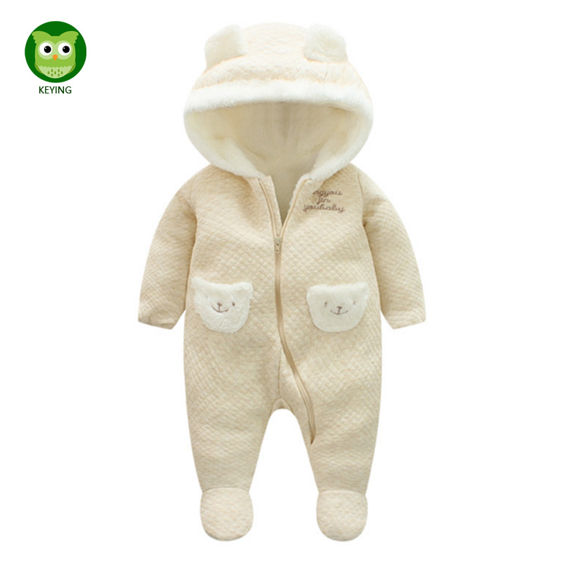 KEYING Keep Thick Warm Infant Baby Rompers Flannel Newborn Baby Boy Girl Romper Jumpsuit Hooded Kid