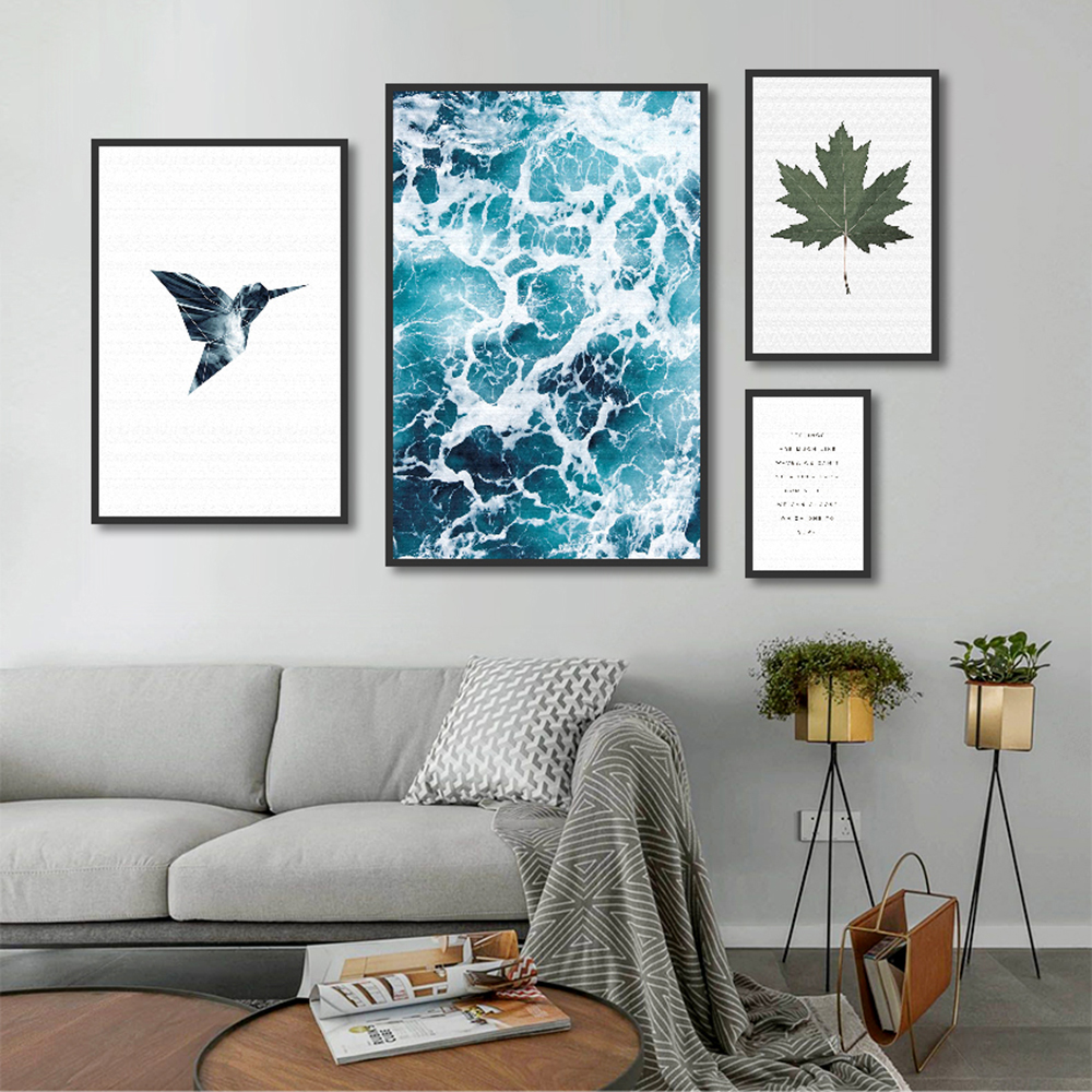 Wall Picture Home Decor Canvas Decoration For Living Room Canvas Painting Wall Art Picture Print On Seawater Bird Letter Poster