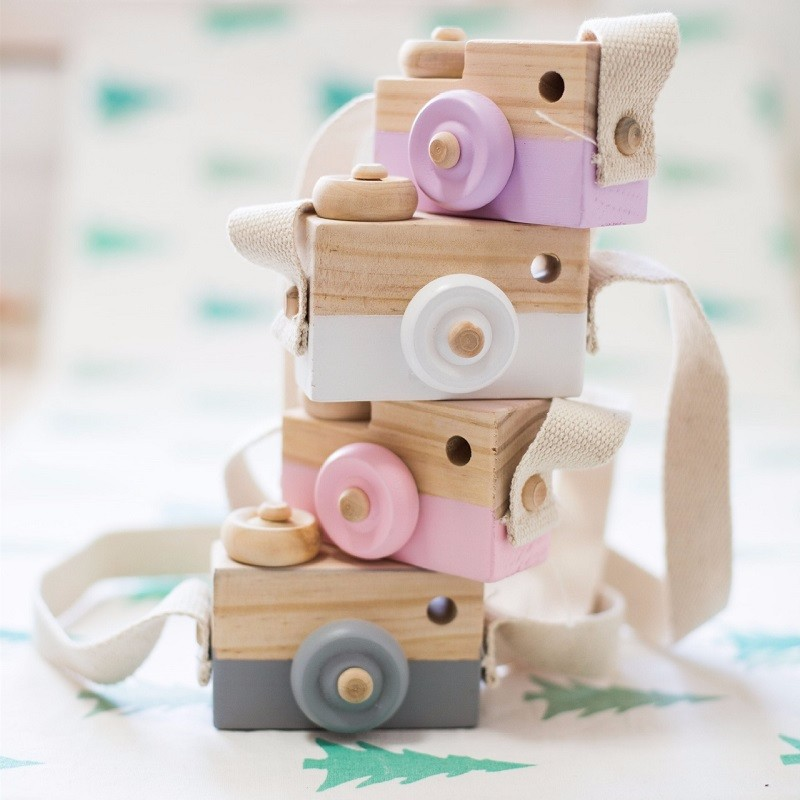 사랑스러운 귀여운 나무 카메라 완구 아기를위한 방 - 가정 장식