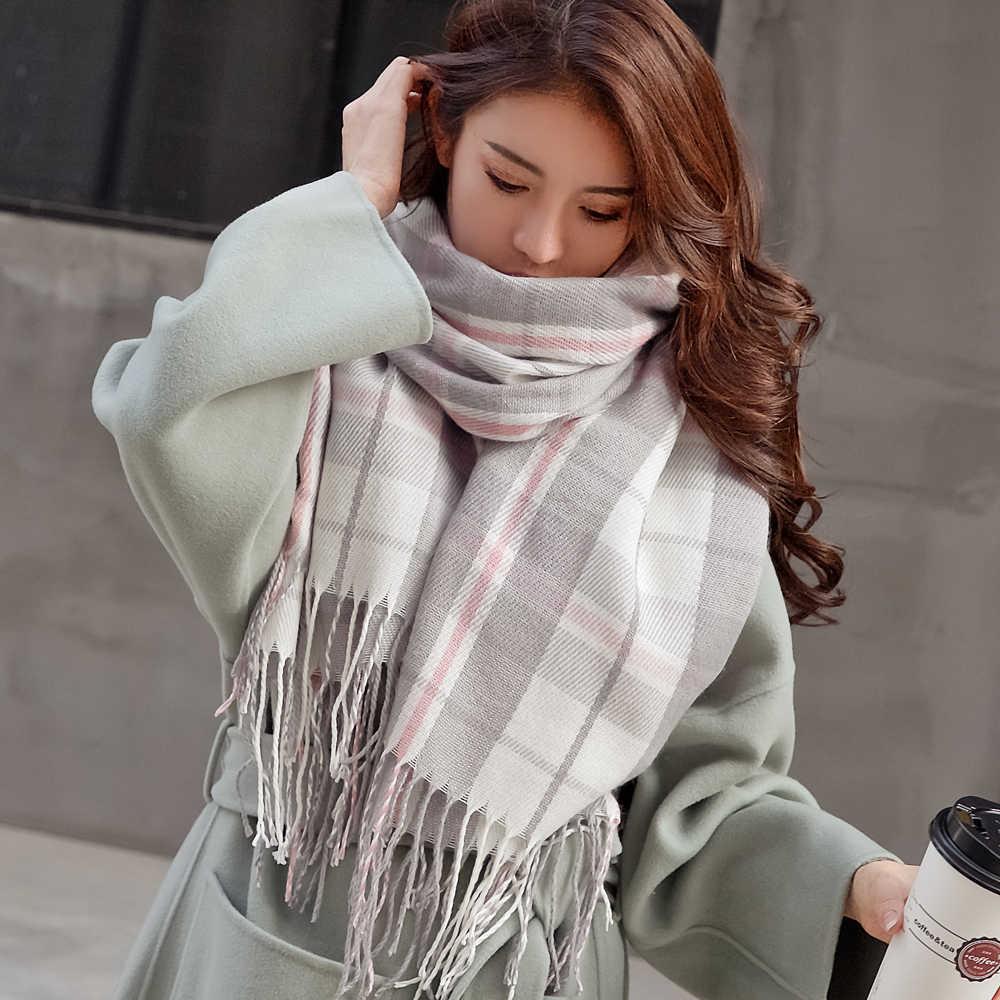 VEITHDIA 2019 Outono Inverno Feminino de Lã Xadrez Cachecol Mulheres Lenços de Cashmere Grande Grade Longo Xale Envoltório Cobertor Quente Tippet