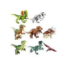 8pcs/set Dinosaurs Jurassic World Figures Building horse Tyrannosaurus Assemble Blocks Classic with Kids Toy