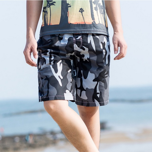 Vertvie Men's Beach Shorts Camo Print Drawstring Shorts Loose Male Swimwear Board Shorts Beach Boxer Trunks Surf Swimming Trunks