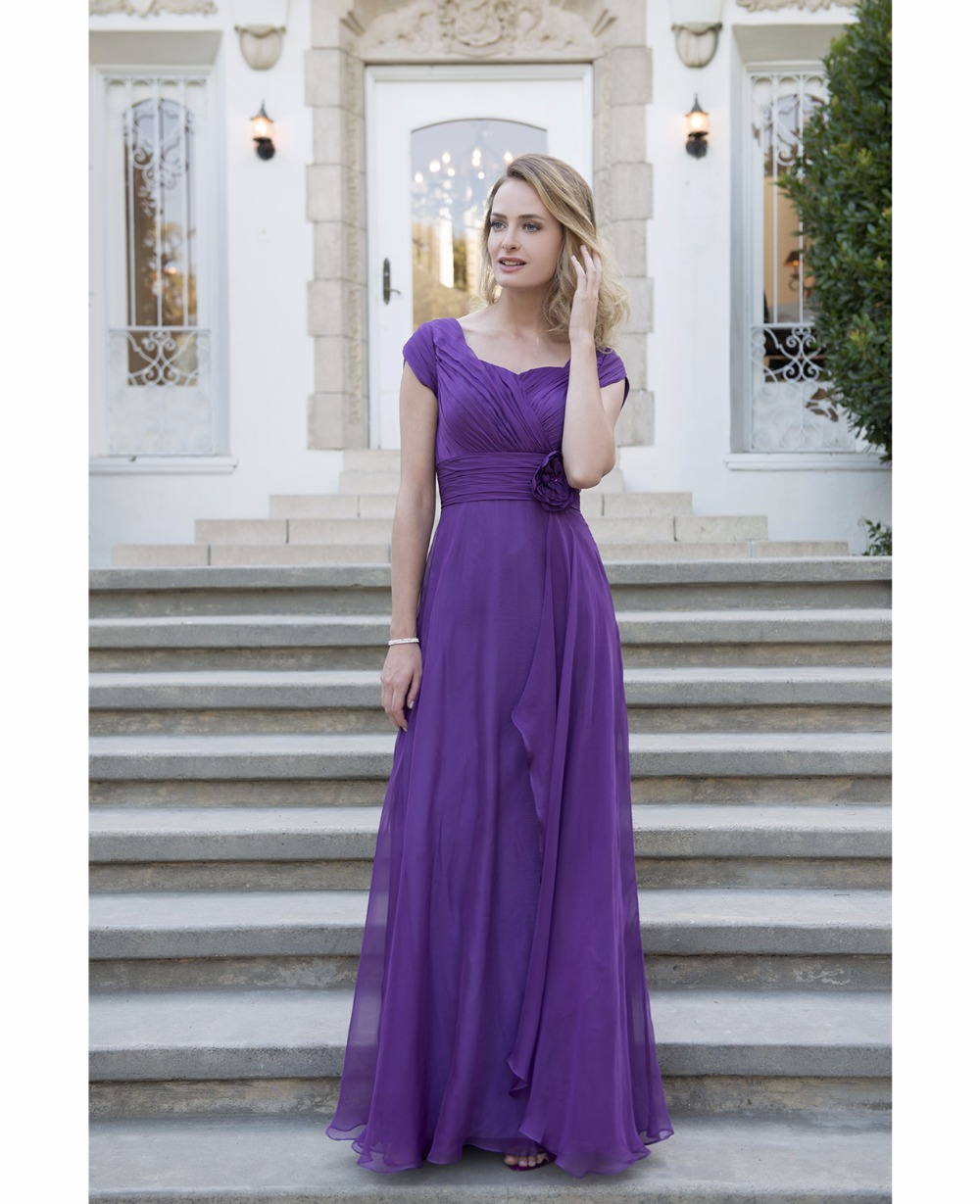 Purple chiffon long modest bridesmaid dresses 2017 with cap purple chiffon long modest bridesmaid dresses 2017 with cap sleeves pleats flowers floor length country bridesmaids gowns custom in bridesmaid dresses from ombrellifo Image collections