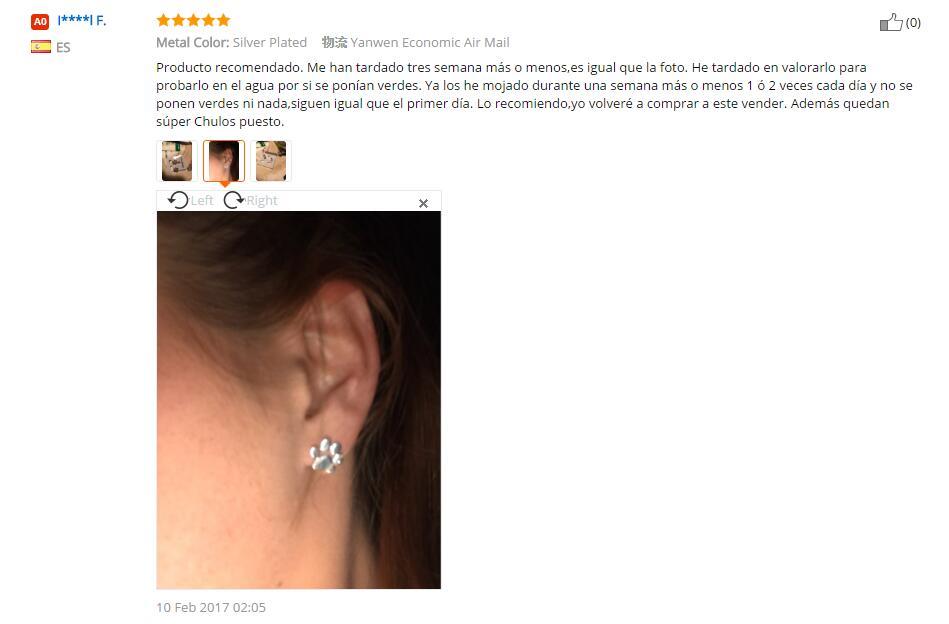 Jisensp mode mignon patte boucles d'oreilles pour femmes Bijoux Piercing Bijoux Boho brossé chat et chien impression boucles d'oreilles Kolczyki