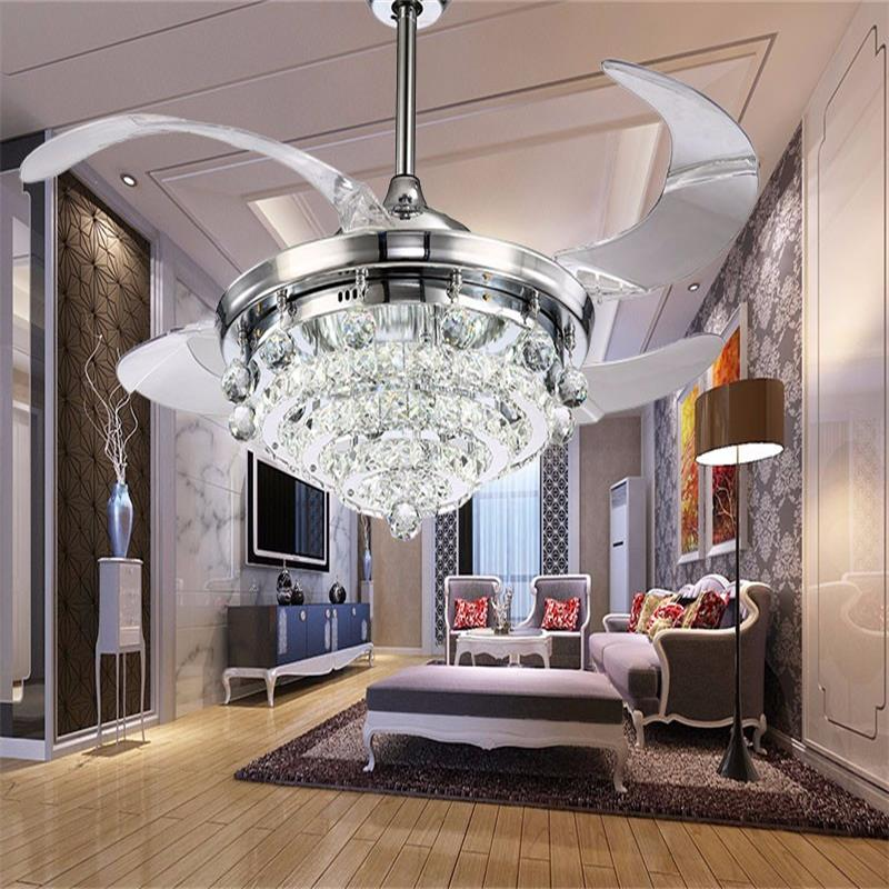 Retractable Blades Crystal Ceiling Fan With Led Light In