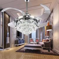 Retractable Blades Crystal ceiling Fan with Led light