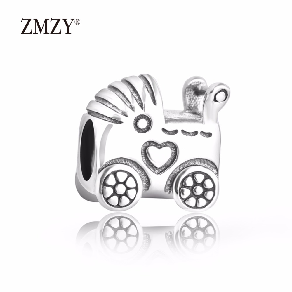 ZMZY Original 925 Sterling Silver Charm Baby Carriage Charms Beads For Pandora Charms Bracelets Accessories