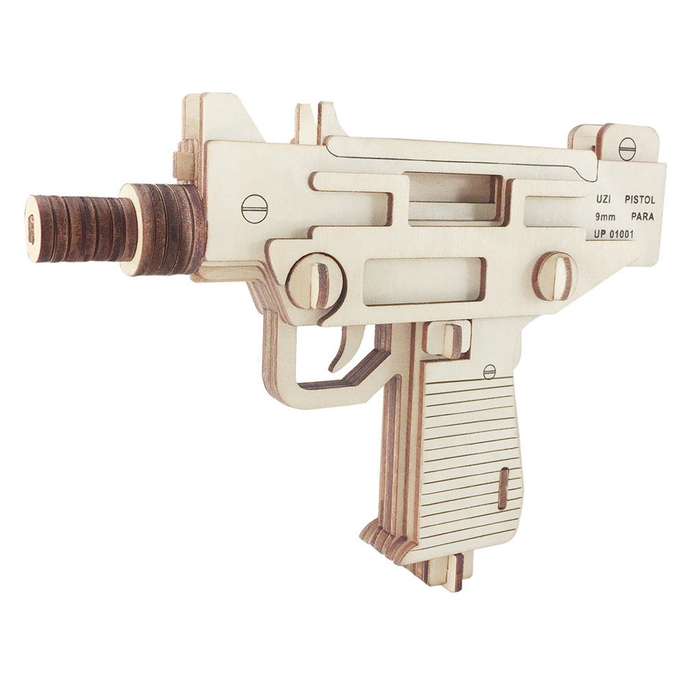 18cm UZI Wooden Assembled Toy Gun 3D Puzzle DIY Handmade Toy Institution Building Toys Educational Toys