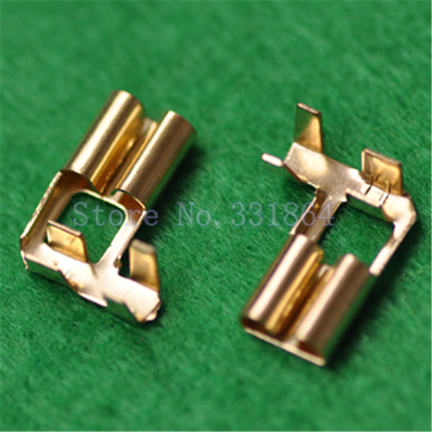 100pcs 6.3MM Flag Copper Plug Spring Terminal Terminal 90 Degrees Bending Pressure Line Type Rectangular Crimp Terminal
