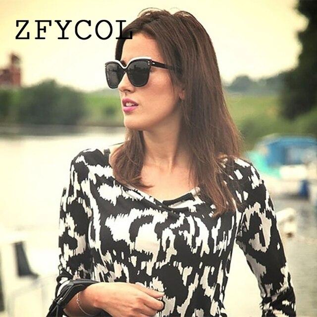 b255363b4 ZFYCOL 2018 Escuro oculos de sol feminino de marca Cat Eye Moda Baratos  Óculos De Sol