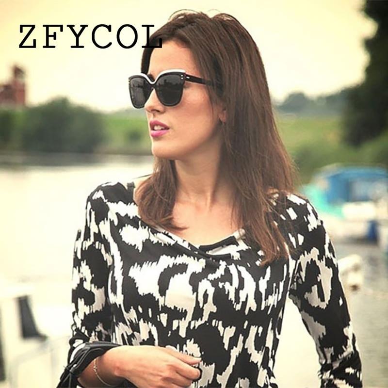 Zfycol 2018 темно-Защита от солнца очки для женщин Брендовая Дизайнерская обувь Оригинальные Модные кошачий глаз дешевые Солнцезащитные очки дл…