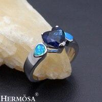 Heart Shaped Precious Stone Jewelry Mystic Fire Australian Opal 925 Sterling Silver Ring Size 7 DF92