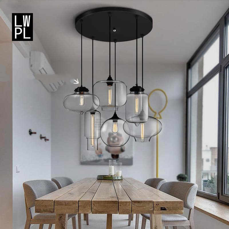 Nordic Simple Glass Pendant Lights Industrial Loft Vintage Hanging Lamp Clear Glass Style Iron Lustres Luminaire  Loft Vintage