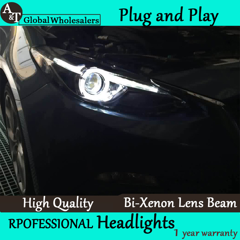 Car Styling for 2014-2015 Mazda 3 LED Headlight assembly New Mazda3 LED Lens Double Beam H7 with hid kit 2 pcs. автоинструменты new design autocom cdp 2014 2 3in1 led ds150