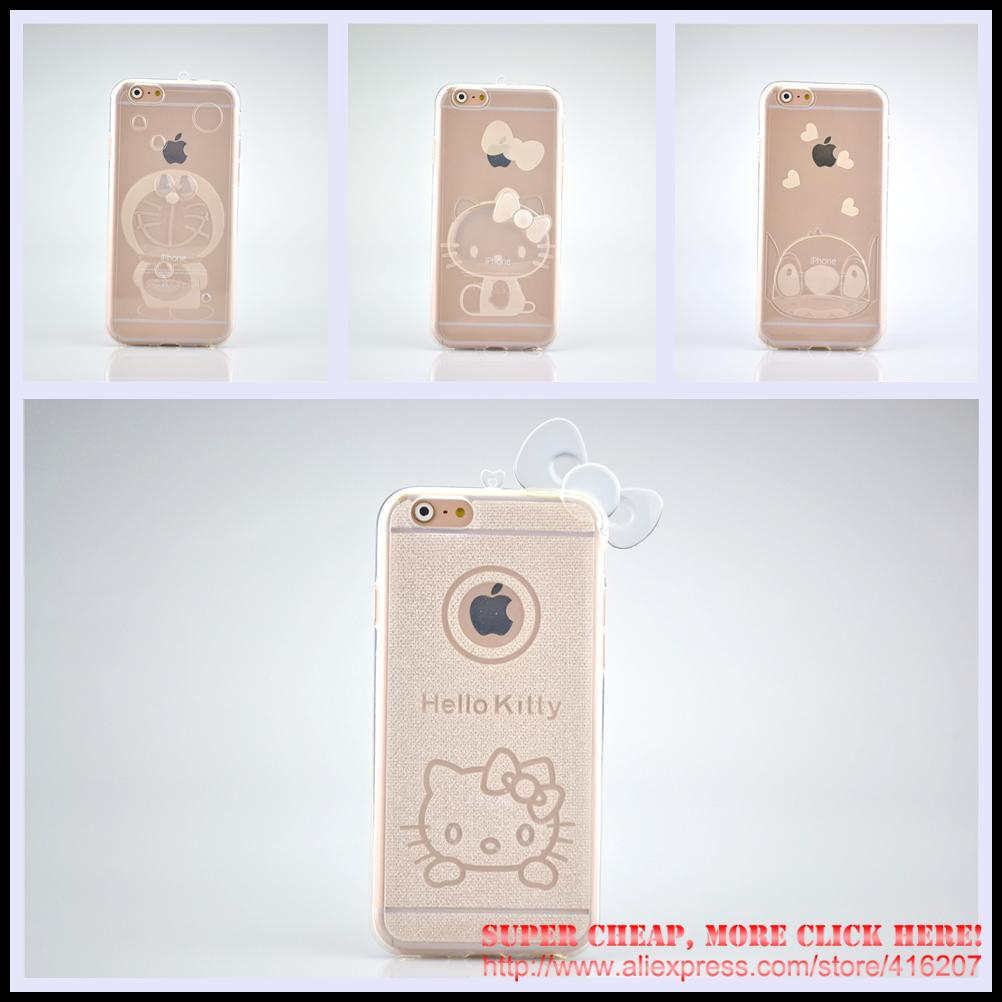 KT Cat Doraemon Stitch Transparent Soft TPU Cover Cases For iphone 6 / 6s (4.7 4.7inch) Phone Cases