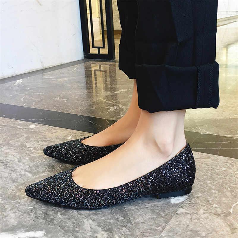 FEDONAS Neue Schuhe Frauen Wohnungen Heels Spitz Frühling Herbst Faulenzer BlingBling Schuhe Frau Einzigen Marke Weibliche Wohnungen Schuhe