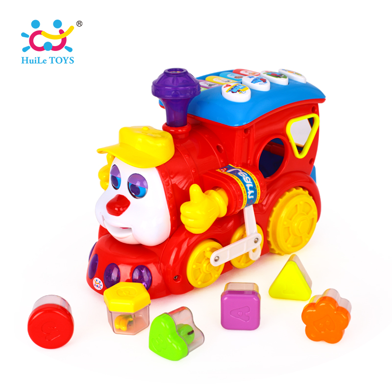 HUILE TOYS 556 Baby Toys IQ Train On Wheels Electric Toy with Light & Music Learning Educational Toys for Children Boy Xmas Gift huile toys 3108 baby toys traveling picnic cooking suitcase toy included stove utensils plates toy meal bacon and eggs