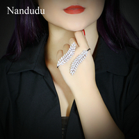 Nandudu Luxury AAA Cubic Zircon Palm Cuff Handlet Silver Color Hand Bracelet Fashion Jewelry Women Girl Bangle Gift R1834