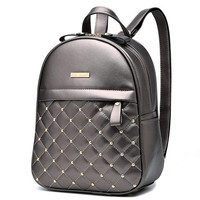 Women Rivet Quilted Backpack 2016 Hot Sale Casual Travel Shoulder Bag High Quality PU Leather School