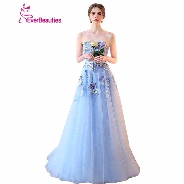 b413cf586 Luz Azul Vestido de Noche Sin Tirantes de Encaje de Flores Apliques Novia  Banquete Bordado Dulce