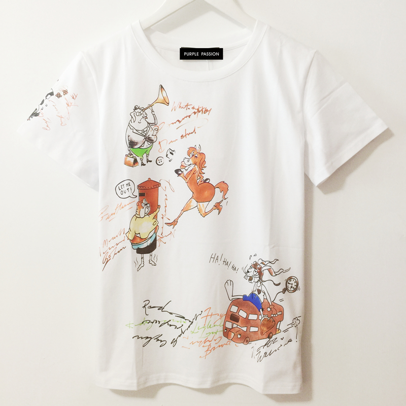 2018 spring and summer season women's pure cotton round collar cartoon print leisure white T-shirt