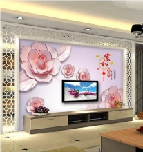 Factory price Customized wallpaper mural Chinese painting with red flowers behind sofa TV as background livingroom