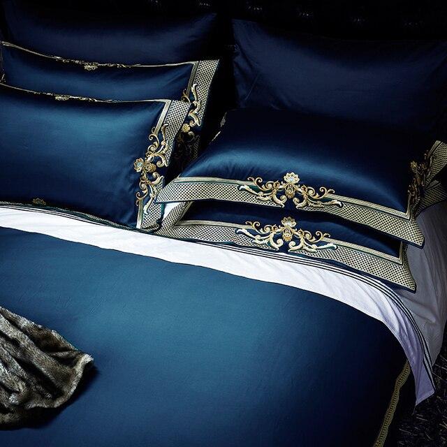 Ensemble de literie en coton égyptien 600TC   Classique, exquis, broderie, housse de couette, drap doreillers, reine, taille roi, 4 pièces