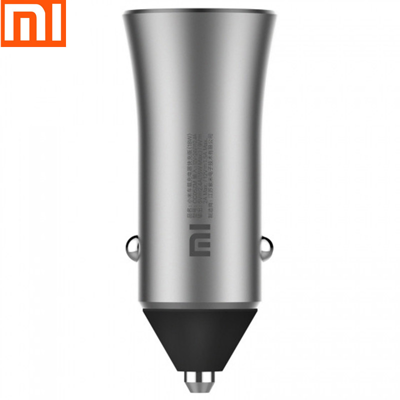 New Version Xiaomi Mi Car Charger Dual USB Quick Charge 5V/2.4A 9V/2A 12V/1.5A Max 18W Fast Charge Edition With LED Light tips(China)