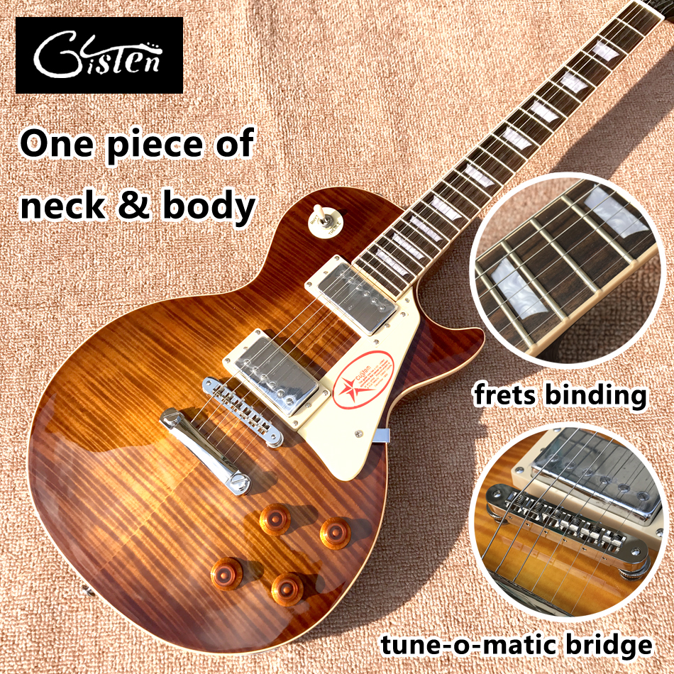 New standard LP 1959 R9 electric guitar, Tobacco burst, frets cream binding, one piece of neck & body, Tune-o-Matic bridge new arrival lp supreme 90th birthday model electric guitar with frets binding gold goldtop 140401