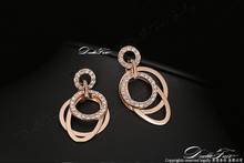 Cubic Zirconia Party Drop/Dangle Earrings Wholesale Rose Gold Color Rhinestone Fashion Big Earring Jewelry For Women DFE057