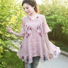 Loose Chiffon Shirts 2017 Summer New Fashion Ruffles Sleeve Medium-long Print Blouses and Shirt Short Sleeve Chiffon Tops