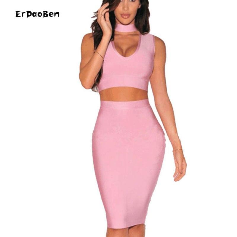 Erdaoben высокого качества комплект из двух предметов летнее платье Холтер женские пикантные облегающее Бандажное платье обтягивающее платье ...
