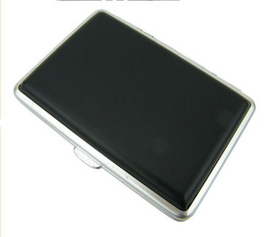 New 1pcs Black leather Cigarette Case Box Holder for Women's Slim Cigarettes (100mm) (hold 20) with gift box ca1503