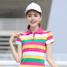2017 M- 6XL Cotton Multicolor Striped Women Polo Shirts Slimming Summer Femme Ladies Sports Tennis Golf Casual Plus Size