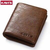 KAVIS Coin Purse Genuine Leather Wallet Men Male Purse Small Walet Portomonee Rfid PORTFOLIO Slim Fashion